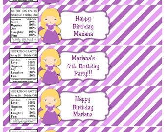 Tangled Water Bottle Labels INSTANT DOWNLOAD Rapunzel Birthday Party Water Bottle Labels Disney Editable Text PDF