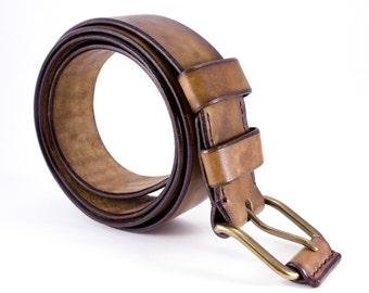 Leather Men Belt - Handcrafted Leather Belt - Beige Leather Belt - Belt For Real Men