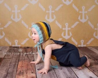 6-12 months  stripe bonnet