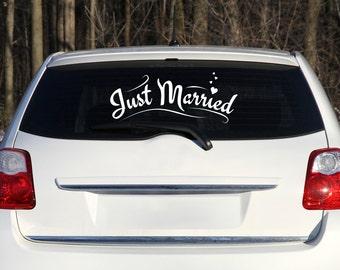 Just Married Car Decal, Wedding Car Decoration, Just Married Sign for Car, Wedding Just Married for Car Window