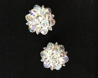 Laguna Vintage Aurora Borealis Cluster Bead Clip-On Earrings