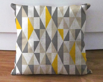 yellow and grey pillow, geometric pillow case, decorative throw pillow, linen pillow cover, 18x18 inch cushion, euro sham, housewarming gift