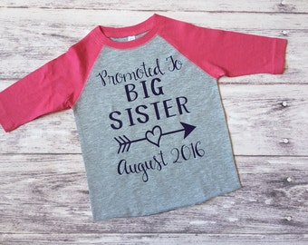 promoted to big sister shirt, pregnancy announcement shirt, soon to be big sister shirt, new baby announcement, big sister shirt
