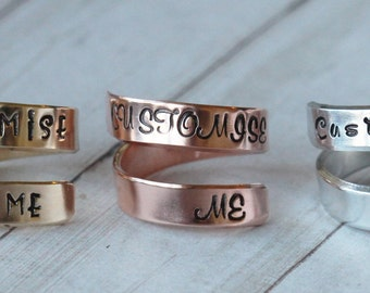 Customise Me / Customize Me Wrap Twist Ring - Personalized Ring - Adjustable Ring - Hand Stamped Ring | Choice of metals