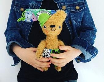Tan mohair teddy bear, stuffed bear, handmade stuffed animal, Waldorf toy, Ecofriendly toy, pretend play, toys,heirloom toys,gifts for kids