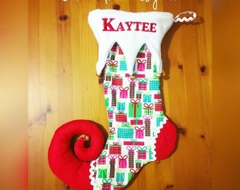 Grinch Foot Christmas Stocking - Pink & Blue Christmas Gifts Print