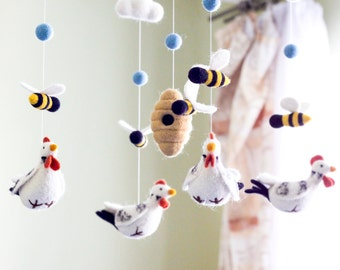 Chicken and Bees Baby Mobile, Needle felted baby mobile, Farm animals Baby Crib Mobile, Nursery Decor, Baby Shower Gift