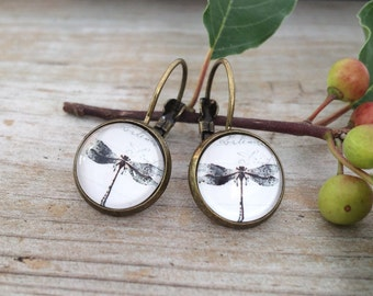 Black and White Dragonfly Antique Gold Drop or Stud Earrings in Vintage Setting