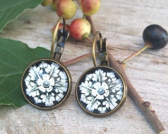 Black & White Flower Rosette Vintage Gold Drop or Stud Earrings Floral in Antique Setting