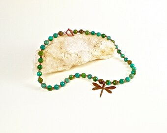 Turquoise Necklace with Dragonfly Charm on Festiviosity