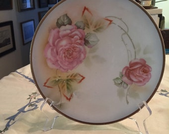 "Antique German Hand Painted Plate Decorated With Pink Roses! 8.5"" W!"