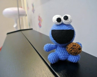 Crochet Cookie Monster Amigurumi - Handmade Crochet Amigurumi Toy Doll - Sesame Street - Cookie Monster Crochet - Amigurumi Cookie Monster