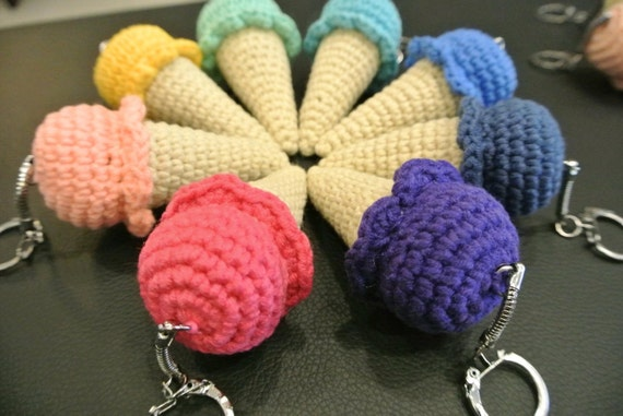 Crochet Ice Cream Cone Amigurumi Keychain Handmade Crochet
