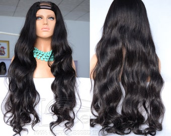 U part wigs human hair long wavy human hair u shape wigs for black women Babeswig u part wigs / full wig