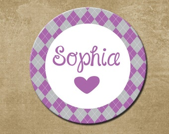 Personalized Girls Melamine Plate,Purple and Gray Argyle, Dishwasher Safe, Birthday Gift, Childrens Dinner Plate,Preppy,  Custom, Name Plate
