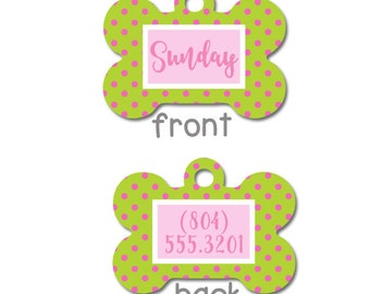Pink and Green Preppy Personalized Pet ID Tag - Personalised Pet Tag - Custom Pet ID Tag -  Dog Collar Name Tag