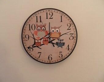 Owl family Silence Nurcery clock Modren wall clock retro wall clock Unique wall clock retro wall clock