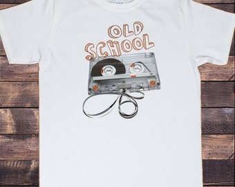 Men's White T-Shirt 80s Retro Stereo System Hi Fi Music Cassette Tape Print TSI6