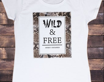 Women's White T-Shirt Wild Slogan and Free Animal Skin Print TSS9