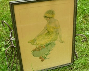 The Message of the Roses- Bessie Pease Gutmann 1915 Framed Print