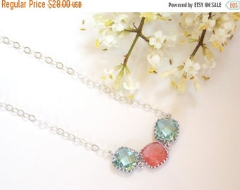 SALE Wedding Jewelry,Erinite and Coral Necklace,Soft Blue and Coral,Sterling Silver Necklace,Bridesmaid Gifts,Bridesmaid Pendant,Gifts,Bride
