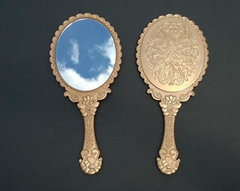 Vintage Style Hand Held Mirrors Antique Gold