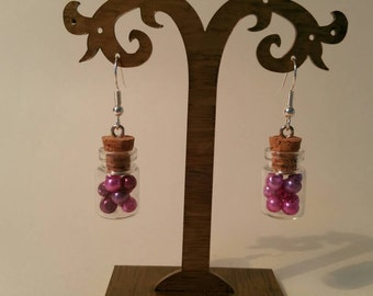 Pink bottle earrings
