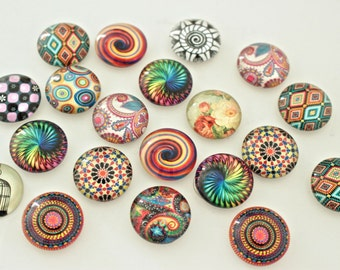 20mm Mixed Pattern Glass Magnet Set, Round Marble Magnets, Colorful Swirl Magnets, Pretty Fridge Magnets, Cute Magnet Gifts, Mix Designs