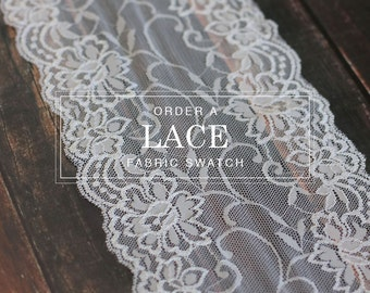 order a 6 x 6inch fabric swatch of our lace table runner roll warm