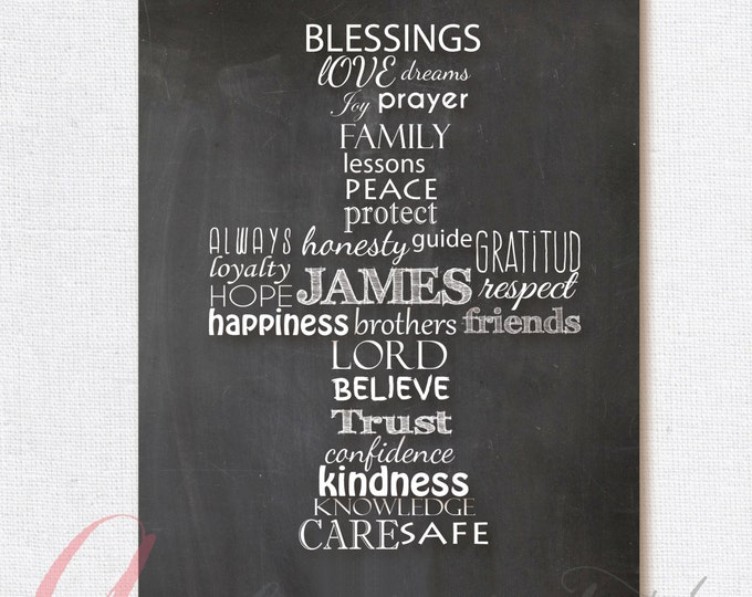 Chalkboard poster. Baptism poster. First Communion Poster. Cross Chalkboard Poster. Printable poster. Typographic Poster. Blessings Poster