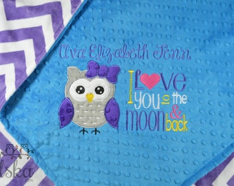 Personalized Baby Blanket, Minky Blanket, Personalized Name Blanket, Name and Owl Applique, Choose your colors, Choose your size.