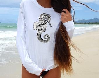 sea horse T shirt woman/t shirt/tee shirts women/sea horse/White Shirt women/White sea horse Shirt/graphic tee/white shirt/sea horse Shirt