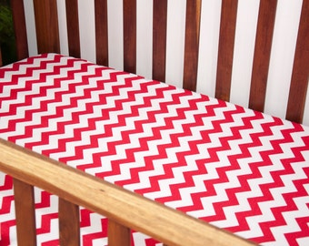 Handmade Red Chevron Fitted Flannel Cot Sheet