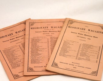 1869-1870 Missionary Magazine, American Baptist Missionary Union, Antique Booklets, Religious Literature, Set of 3 Editions