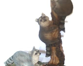 Large Vintage Raccoon Babies Statue, Cabin Decor