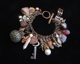 Embellished Vintage Antique Brass & Mixed Metal Charm Bracelet
