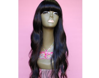 WiShe MAR :Unprocessed 100% Brazilian Virgin Remy Human Hair Wig- China Bang Long Natural Body Wave Curly Wig *
