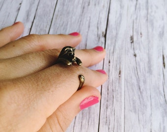 Ring - lion in Matt bronze: Adjustable ring, vintage, made with love