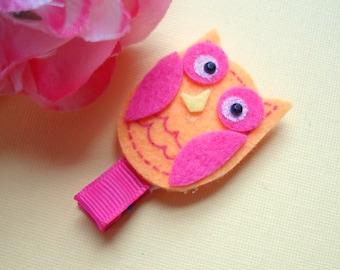 Orange Pink Owl Hair Clip, Clippie, Animal Hair Clip, Felt Hair Clips, Girls, Babies, Fully Lined, Alligator Hair Clips