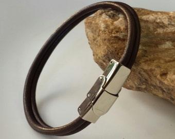 FREE SHIPPING-Leather Bracelet, Man Bracelet, Double leather Cord Bracelet, Brown Bracelet, Birthday Gift, Simple Leather Bracelet