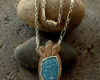 enamel and sterling necklace