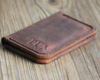 PERSONALIZED Slim Rustic Design Mens Leather Credit Card Wallets Leather Bifold Wallet Travel Wallet  Distressed Leather Groomsmen Gift