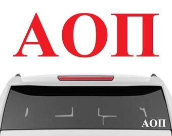 Alpha Omicron Pi Decal | A O Pi Decal | Sorority Car Decals, Sorority Vinyl Decal, Sorority Laptop Decal, Sorority Decal