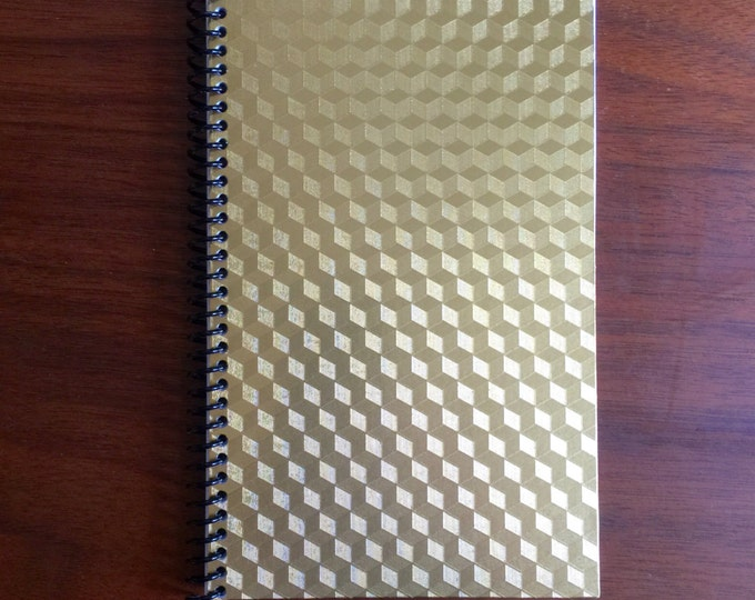 Gold Cube Notebook 5 x 8 Spiral Bound Gold Foil Design Geometry Gift Pattern Squares Notebook Blank Paper Notebook Travel Memo LOGO FREE