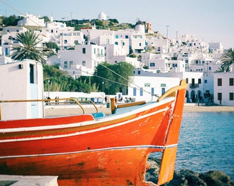 Greece Photography, Greek Islands, Mykonos, Colorful Boat, Mediterranean Sea, Summer, Travel Photo, Art Print, Aqua, Blue, Orange, Wall Art
