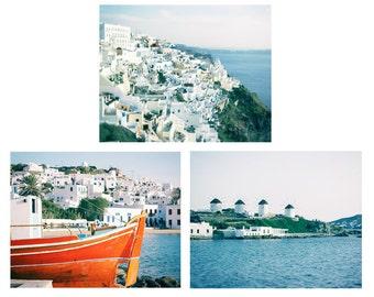 SALE, Greece Photography, Set of 3 Prints, Greek Islands, Mediterranean Decor, Aqua turquoise cobalt blue wall art, Travel Photo, Print Set