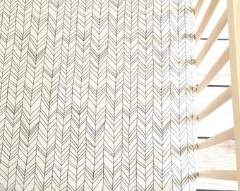 Crib Sheet in Herringbone White+Gray Featherland, Crib Bedding, Gender Neutral, Tribal Nursery, Chevron Bedding