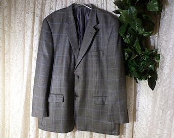 Vintage 46 48 Long CAMEL HAIR & SILK Sports Coat Blazer Jacket Black White Blue Windowpane Plaid Hardly Worn Fully Lined Buisness Office