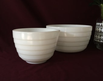 Milk Glass Pyrex Mixing Bowls | Set of Two | Horizontal Ribbed | Shabby Chic Planters