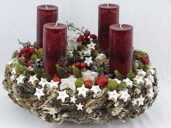 adventskranz xl christmas wreath natur salbeikranz kokossterne. Black Bedroom Furniture Sets. Home Design Ideas
